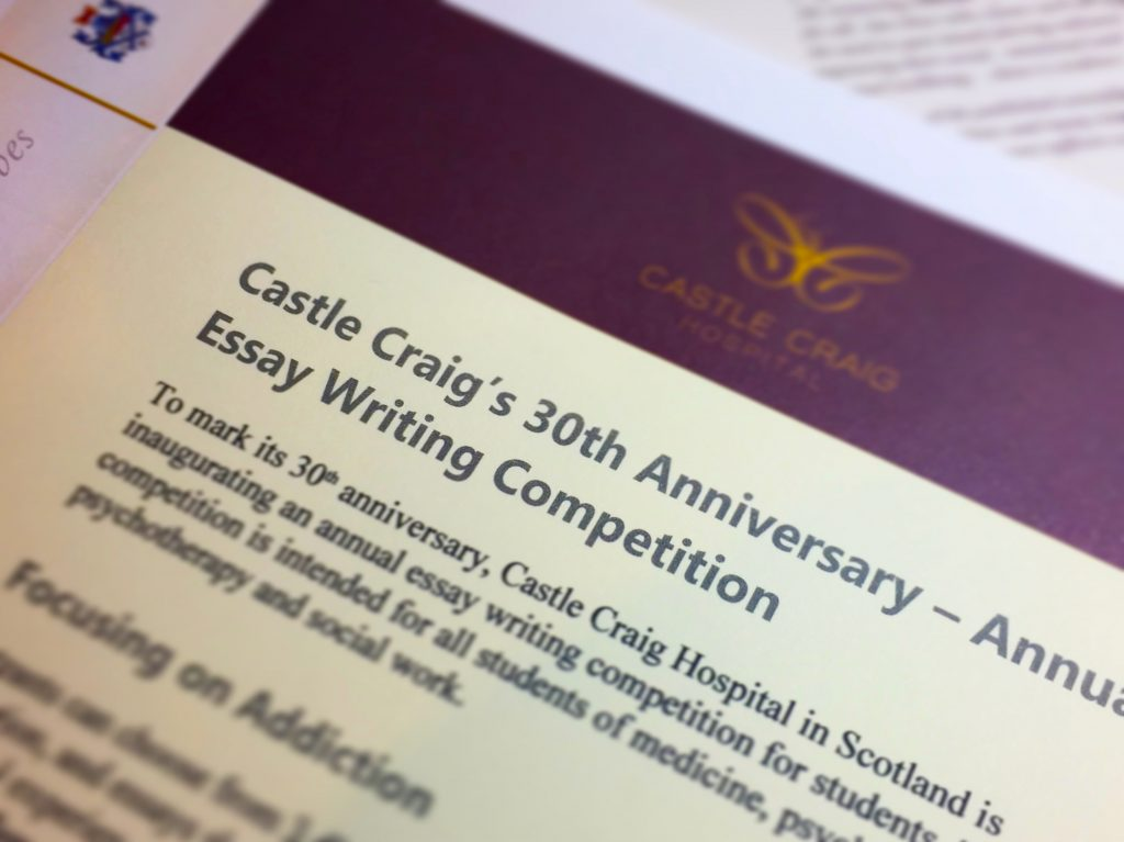 apply for the annual essay writing competition  castle craig hospital