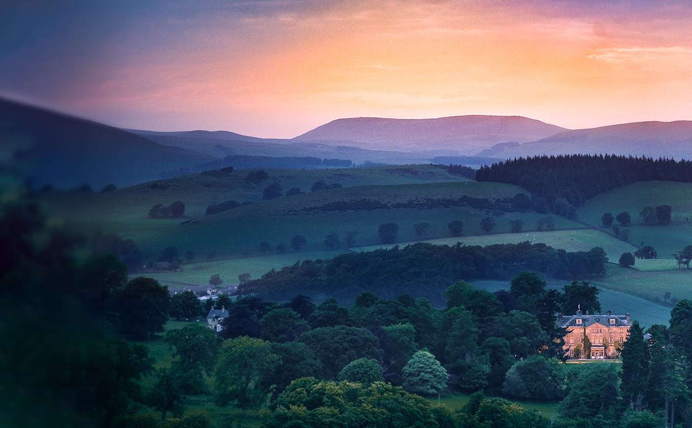 Rolling hills at dawn and the Castle Craig