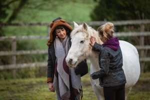 Clients petting a horse for equine therapy