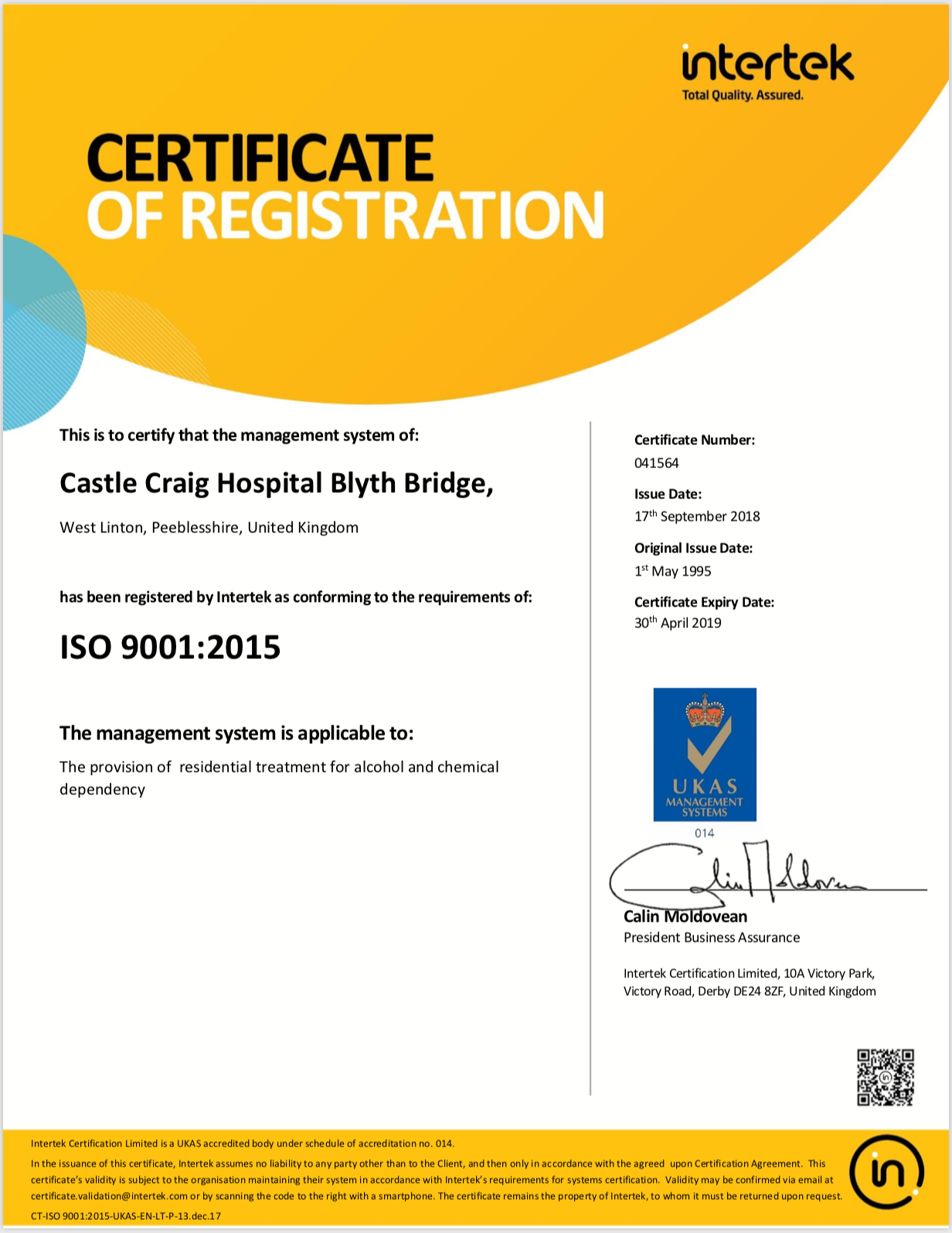 Castle Craig Certificate of Registration ISO 9001:2015